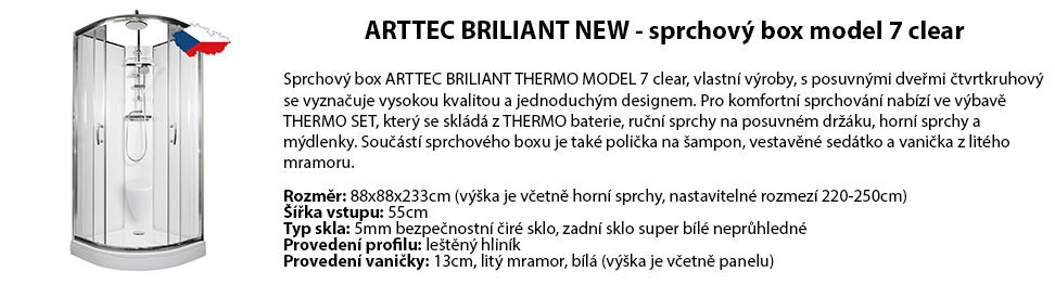 ARTTEC BRILIANT NEW - sprchový box model 7 clear
