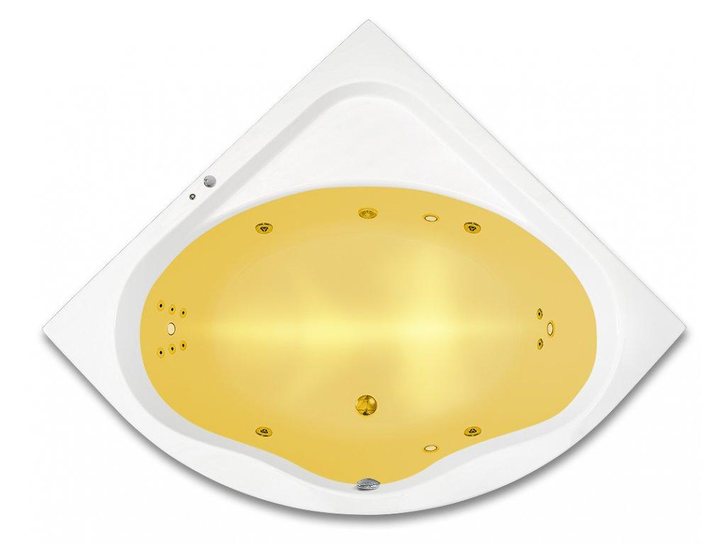 Vířivá vana 150 x 150 cm, světelná terapie, hydromasážní