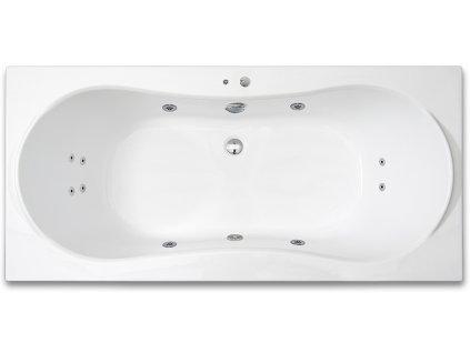 Vířivá vana KRONA SURF, 180 x 80 cm, 4 velké masážní trysky, 6 malých masážních trysek, 1 sací koš