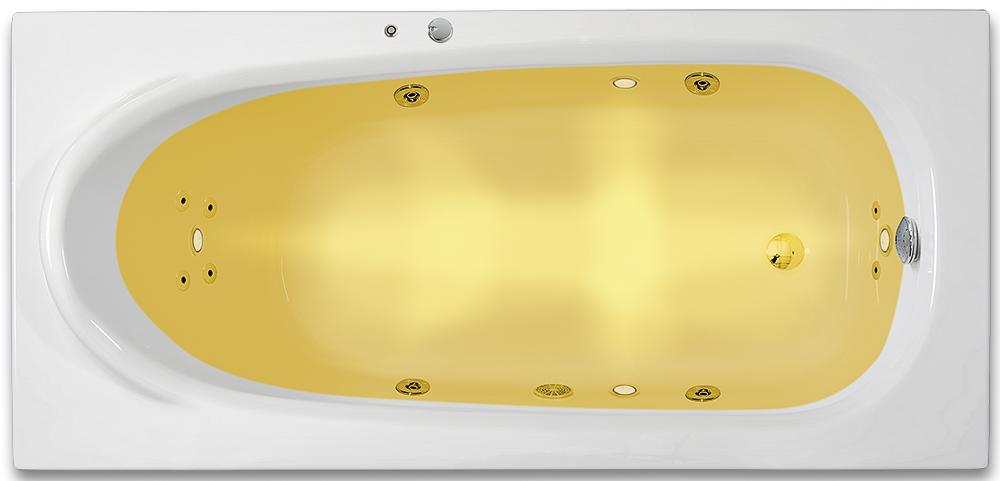 ARTTEC RHEY SURF + CHROMO 170 x 75 cm Hydromasážní akrylátová vana PAN04374