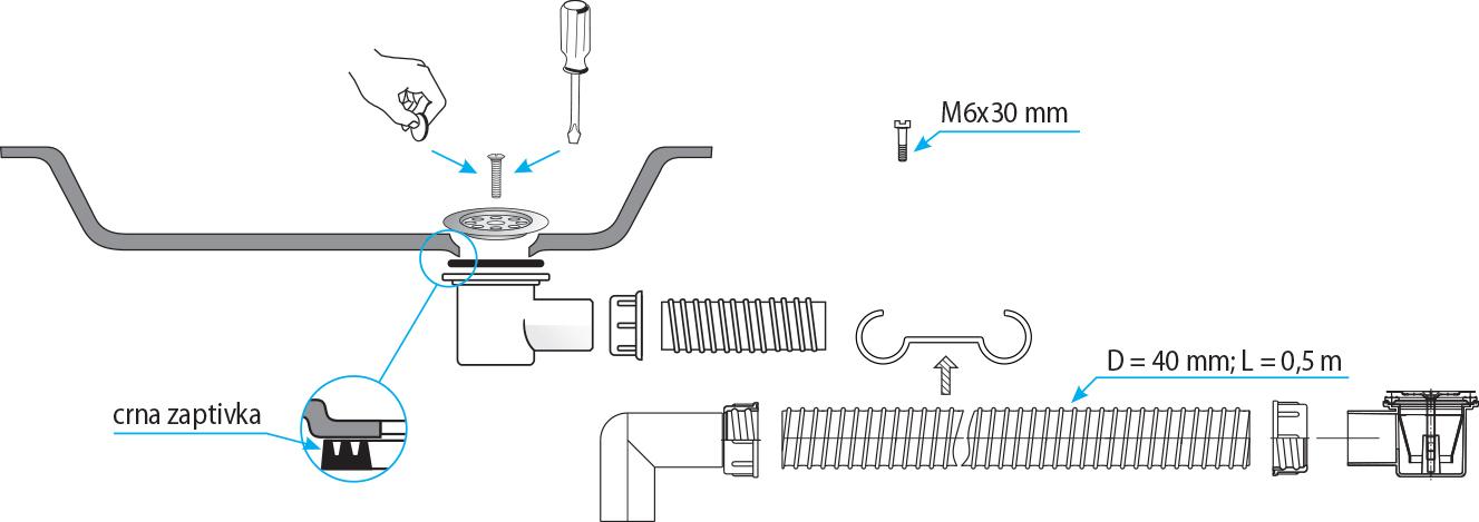 ARTTEC Sifon vanový flexi pro sprchovou vaničku
