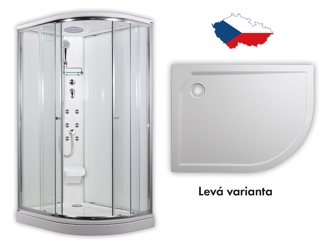 ARTTEC SIRIUS Masážní sprchový box model 5 chinchila levá 117 x 88 cm PAN04557