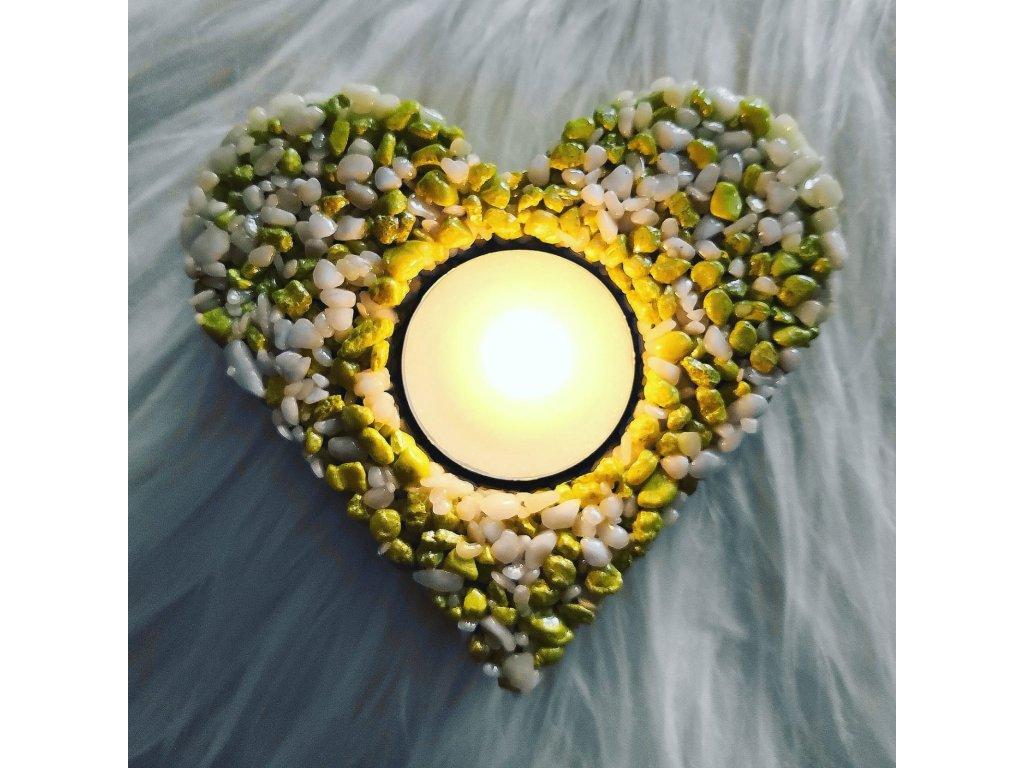 Svícen Srdce žluto-zeleno-bílé