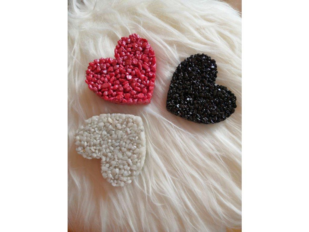 3 x Malé Srdce  Červené, Černé a Bílé Set.