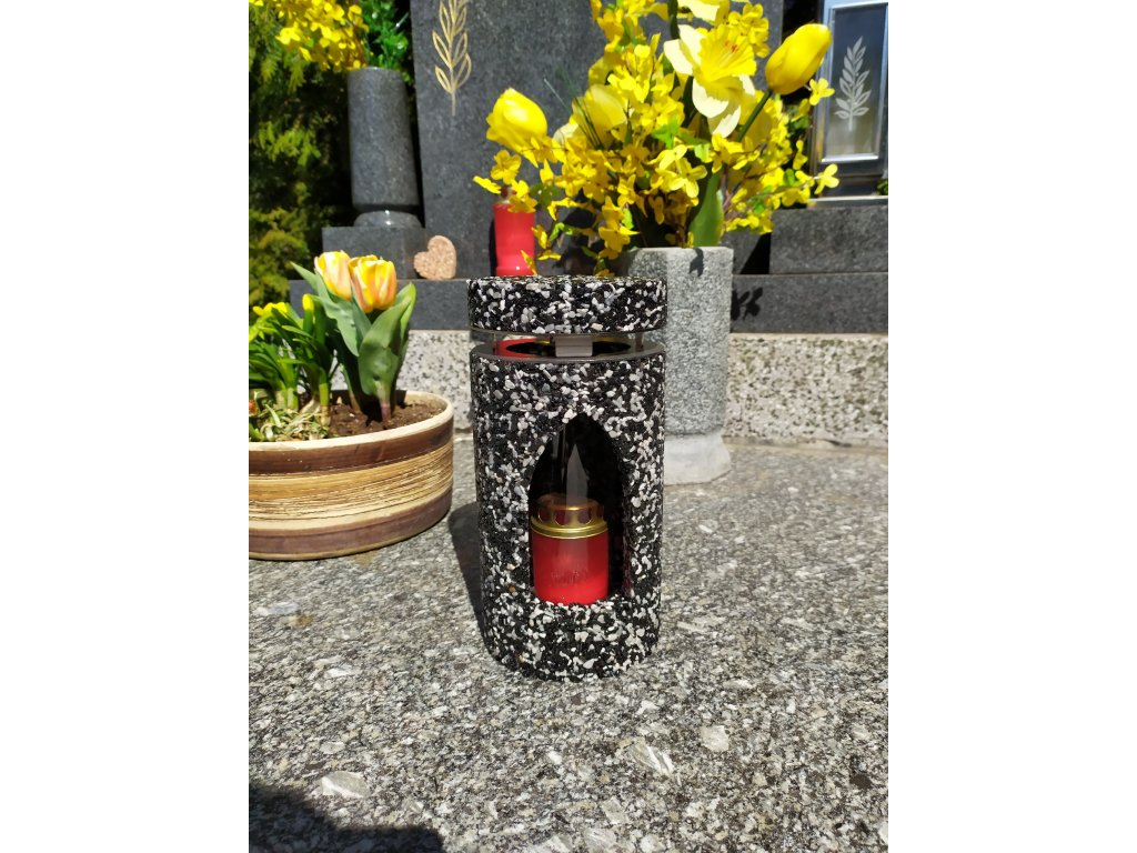 Hřbitovní Svítilna černo-šedá lucerna