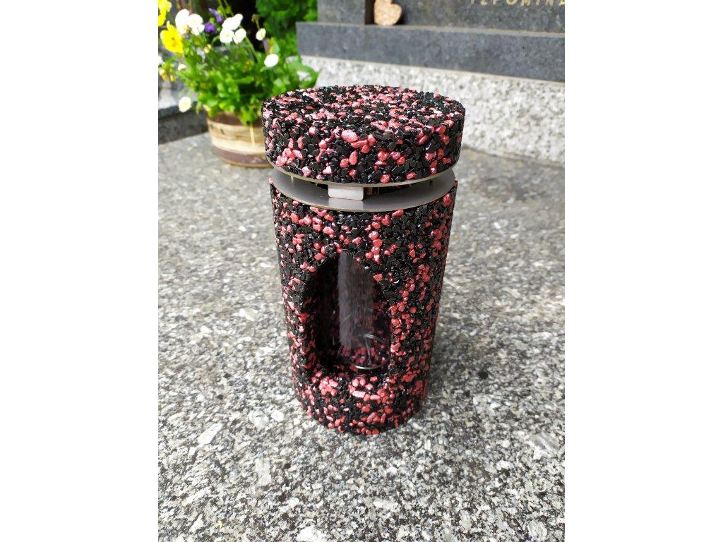 Hřbitovní svítilna černo-červená lucerna
