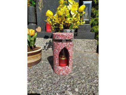 Hřbitovní Svítilna červeno-šedá lucerna