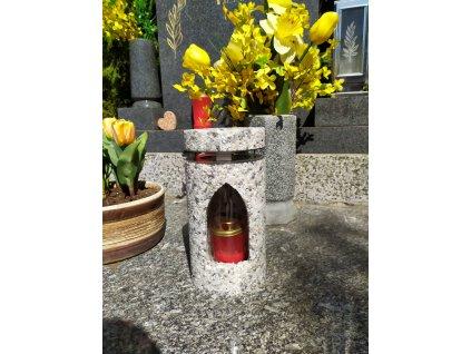 Hřbitovní Svítilna bílo-šedá lucerna