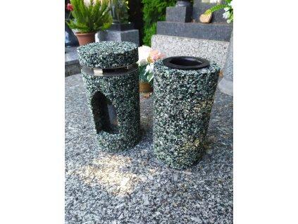 Set hřbitovní svítilna a váza Green Olive Hapiness