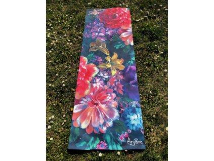 Eko přírodní jógamatka 3mm - Retro květiny
