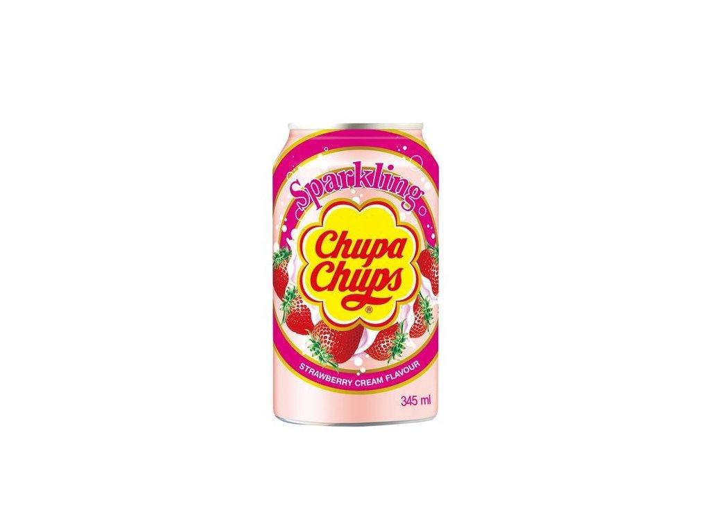 Chupa Chups perlivý nápoj s příchutí jahod se smetanou 345 ml