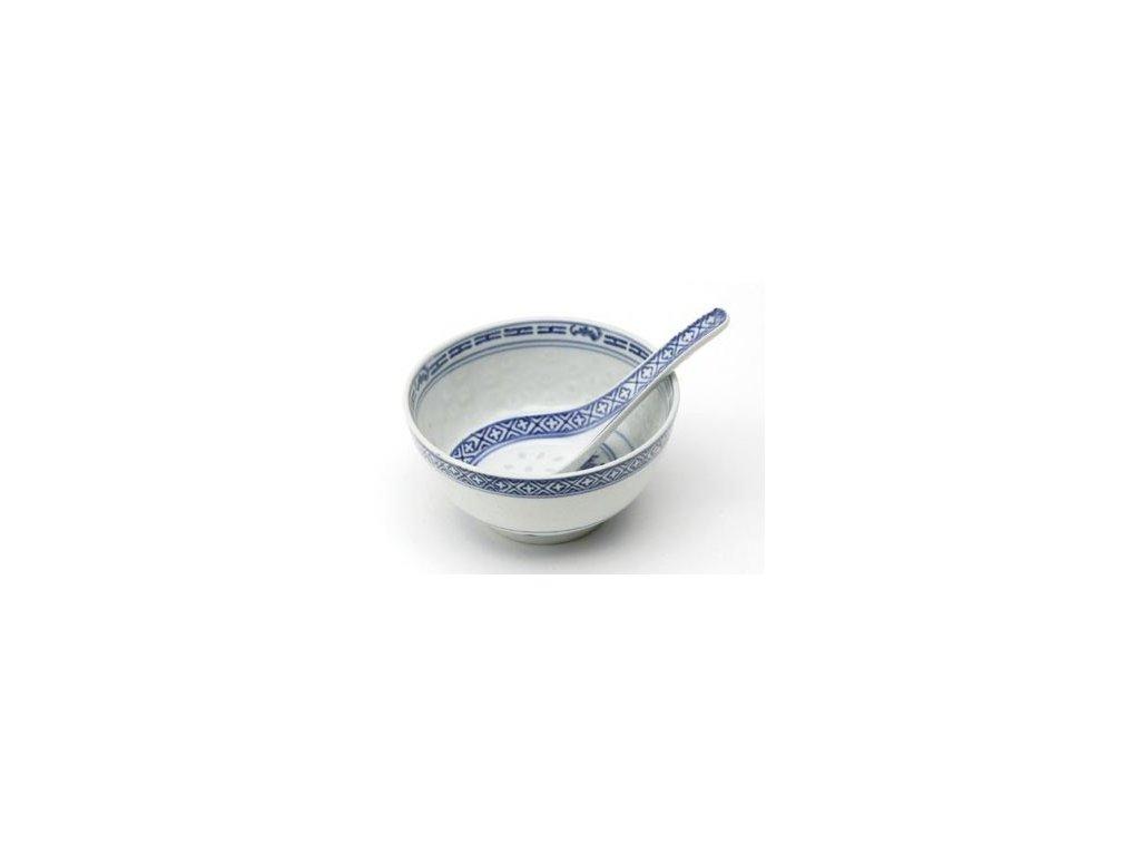 Miska se lžičkou z rýžového porcelánu 11 cm