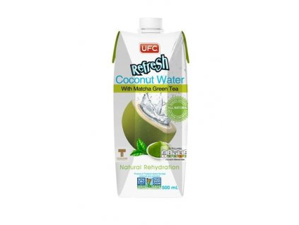 Kokosová voda s Matcha Tea 100 % fresh 500 ml