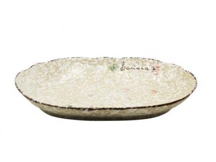 Keramický oválný talíř Snow 31,5 cm