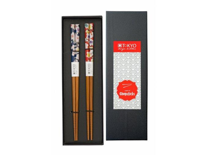 Hůlky v krabičce 2 páry červené a modré