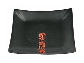 Talíř černý s japonským vzorem 16x16cm