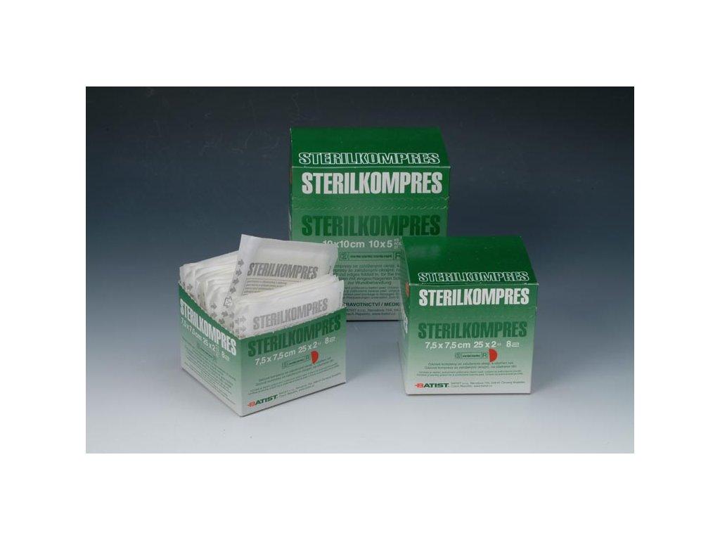 Gázový kompres STERILKOMPRES (varianta 7,5 x 7,5 cm, 25 bal. po 5 ks)