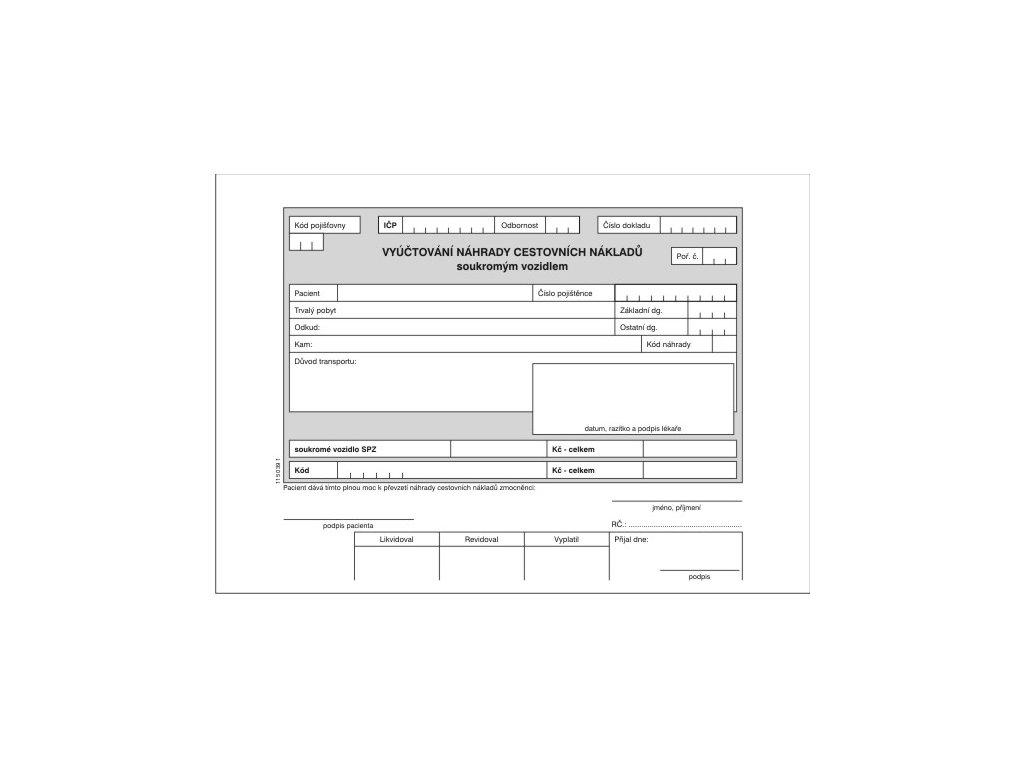 Vyúčtování náhrady cestovních nákladů soukr. vozidlem
