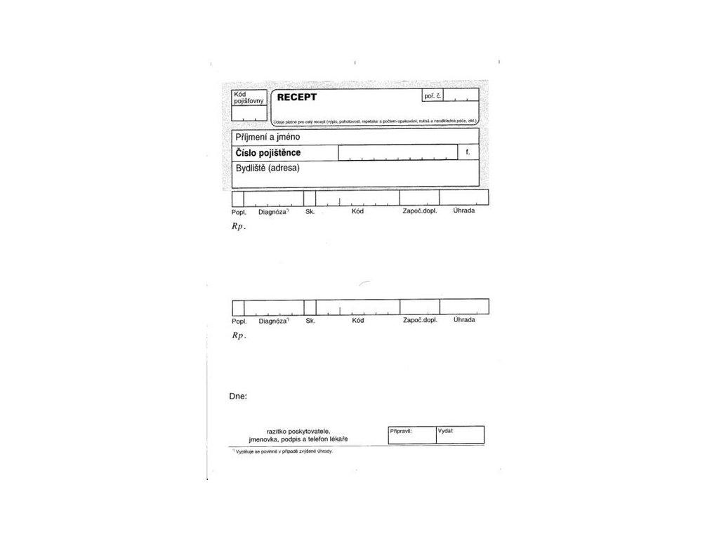 Recept (varianta DITIS volné listy, 100 ks, 115010080)