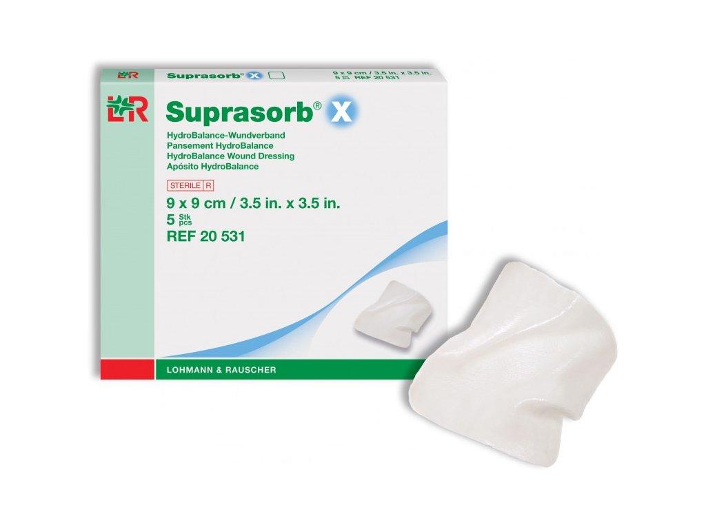Suprasorb X a X+PHMB (varianta Suprasorb X+PHMB, tamponáda, 2 x 21 cm / 5 ks)
