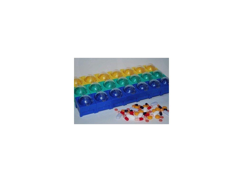 Stavebnicový dávkovač léků (varianta týdenní 7x3 ks)
