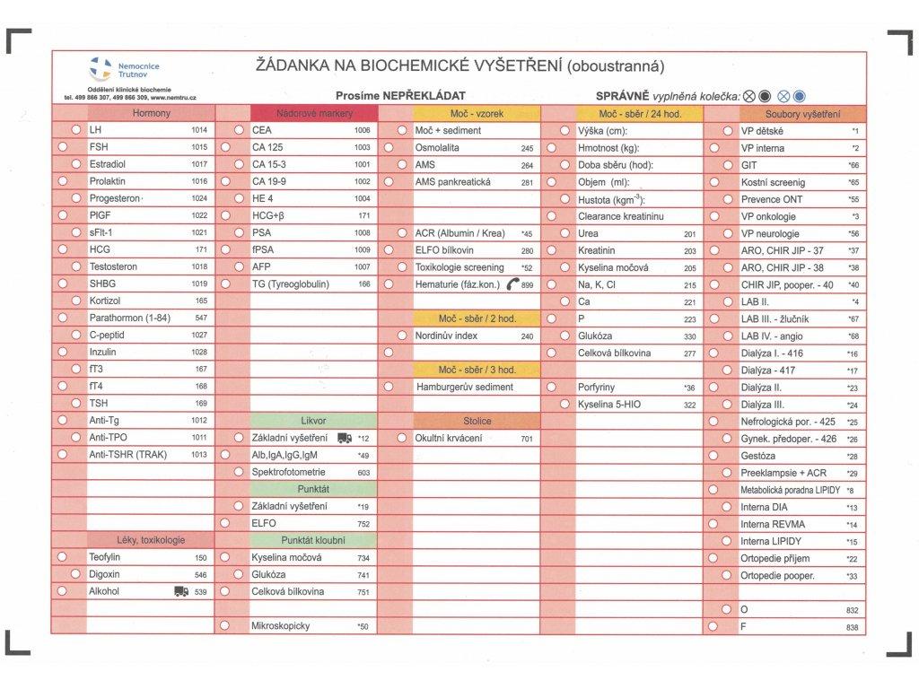 Žádanka na biochemické vyšetření (100ks)