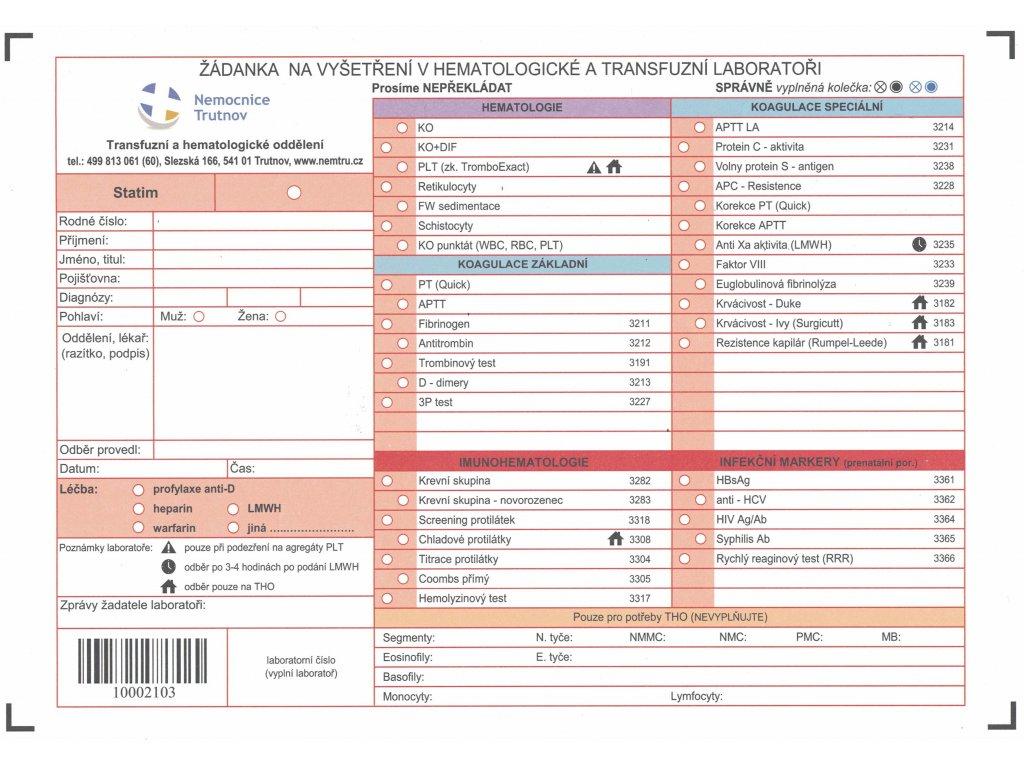 Žádanka na vyšetření v hematologické a transfuzní laboratoři (100ks)