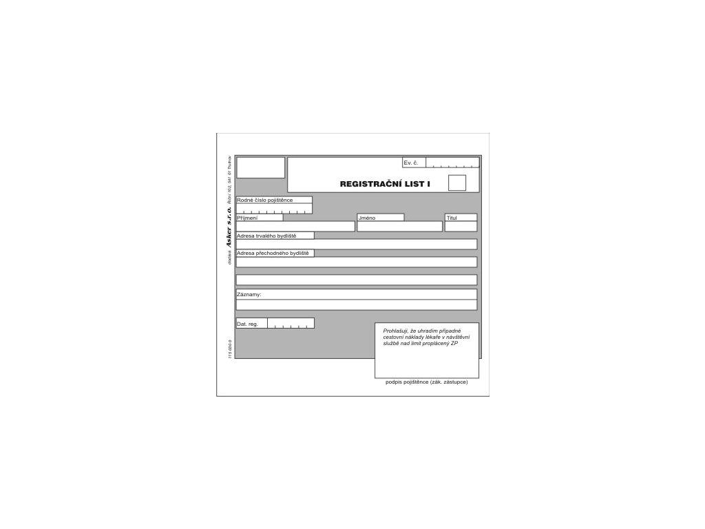 115 030 0 REGISTRAČNÍ LIST I 1