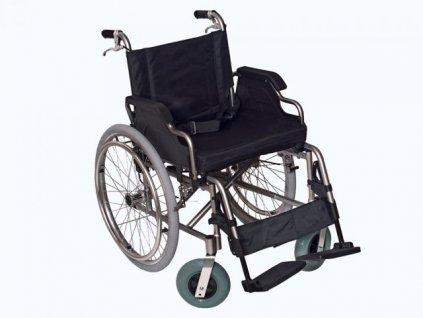 Vozík invalidní mechanický duralový (varianta šířka sedačky 46 cm - s přídavnou brzdou pro obsluhu)