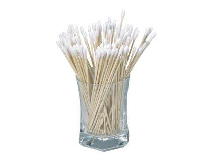 Vatové tampóny na dřevěnné tyčce (varianta prům.5x15 mm, 23 cm / 100 ks)