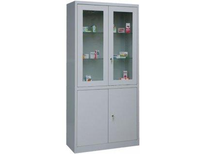 Lékárna skříňová prosklená (varianta šedo-žlutá)