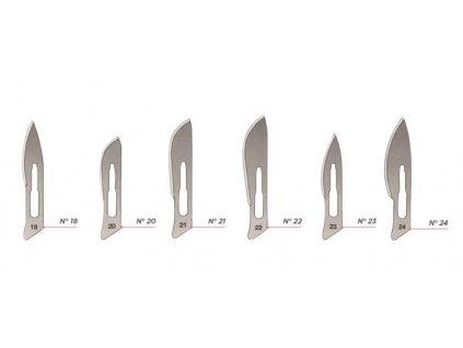 Čepelky skalpelové CHIMO (varianta č. 23, 100 ks)
