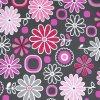 BAREVNÁ LOUKA růžová šedý podklad - ŠUSŤÁK KOČÁRKOVÝ /kočárkovina/nepromokavý HF úprava