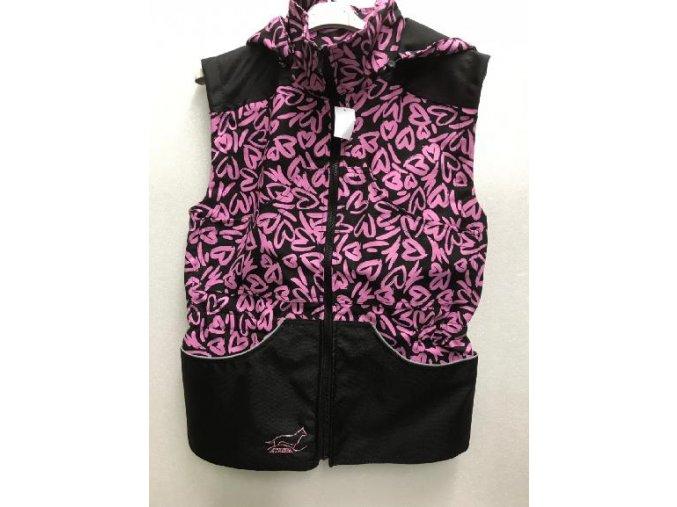 Výcviková vesta s kapucí/růžová srdíčka/