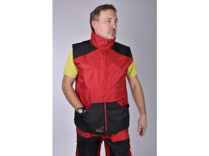Výcviková vesta červená a modrá/černé kapsy/