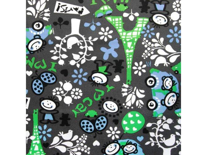 EIFFELOVA VĚŽ zelená s modrou- ŠUSŤÁK KOČÁRKOVÝ /kočárkovina/nepromokavý HF úprava
