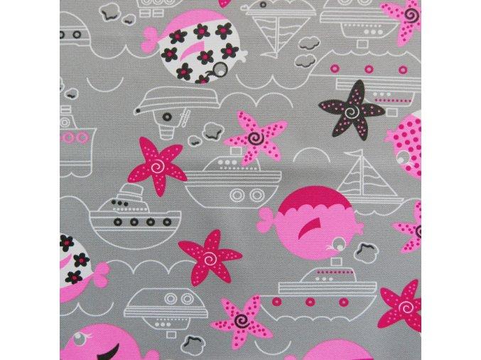 RYBIČKY šedo-růžové - ŠUSŤÁK KOČÁRKOVÝ /kočárkovina/nepromokavý HF úprava