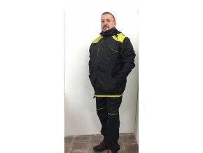ZIMNÍ BUNDA ČERNÁ / barevná ramena /