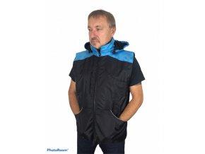 Výcviková vesta s kapucí černá - BAREVNÁ RAMENA
