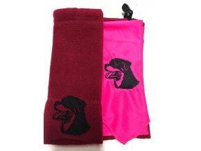 Souprava čepice+šátek s výšivkou
