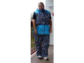 Výcvikové kalhoty Ataner/podšité (šedé s modrími květy)  nepromokavé
