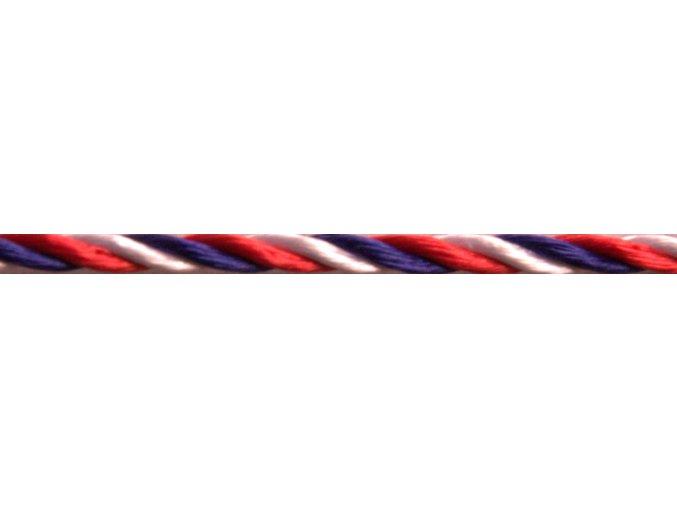 Trikolóra okrúhla lesklá, priemer 2,4mm - šnúra stáčaná