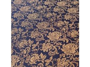 knihárske plátno 705 tm. modré so zlatým motívom 1