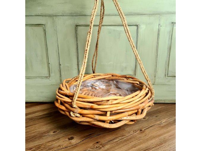 Ratanový koš na zavěšení - hnízdo