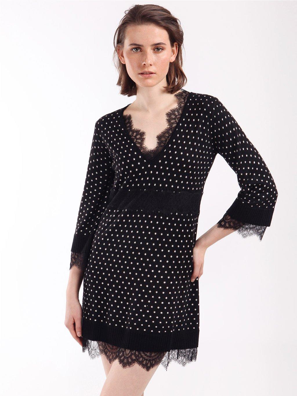 202TP3502 úpletové vzorované šaty