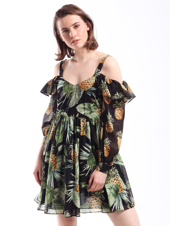 201TT2462 šaty s ananasy