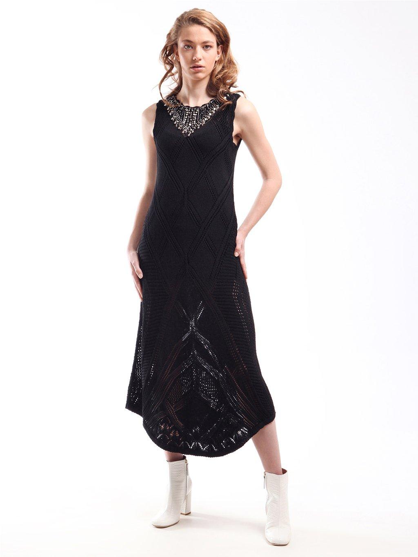 211TT3102 černé dlouhé šaty