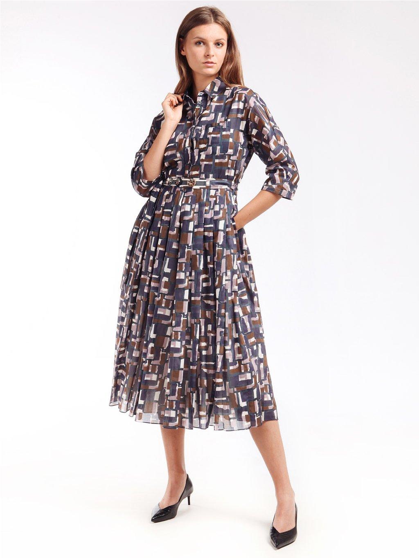 Vzorované bavlněné šaty s límečkem a sklady  ´S MAX MARA