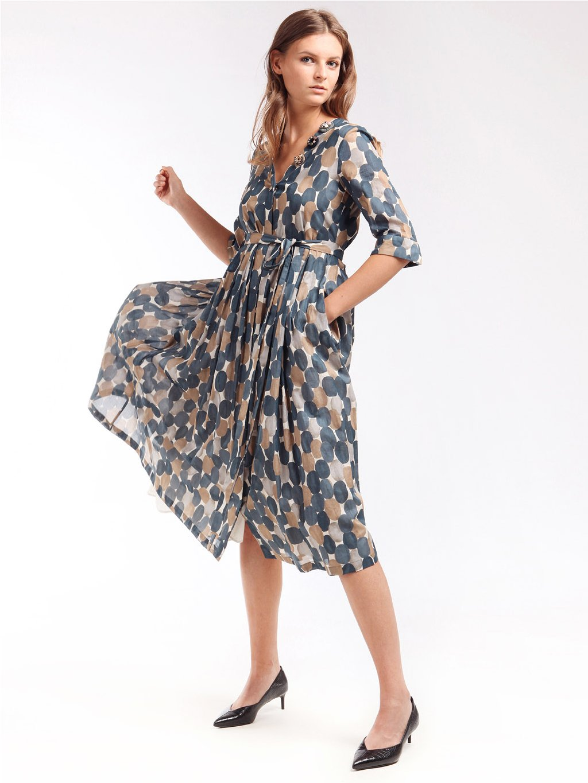 Vzorované bavlněné šaty s výstřihem  ´S MAX MARA