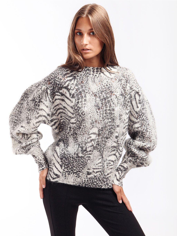 Mohérový svetr se zvířecím potiskem  TWINSET
